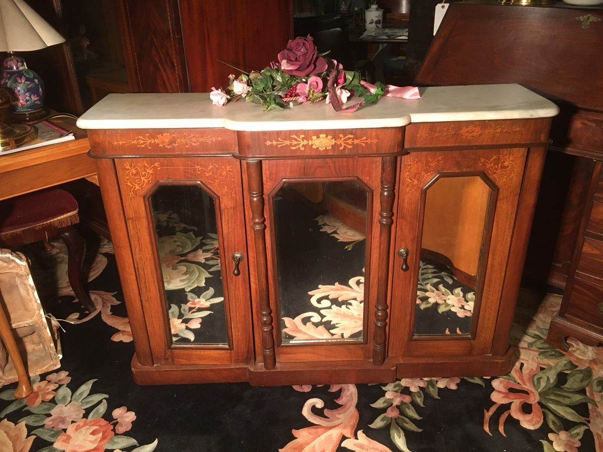 Inlaid Credenza with marble top and mirrored front €425