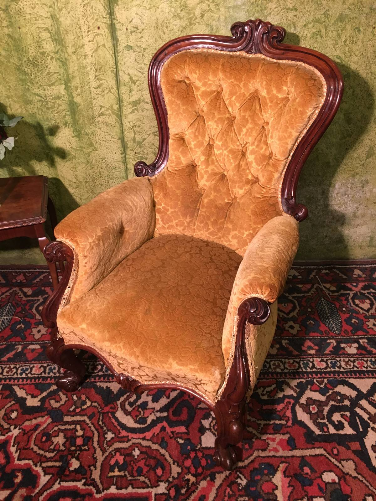 Victorian Mahagoni Sessel Spoon Back Chair Rokoko-Stil1880-1890